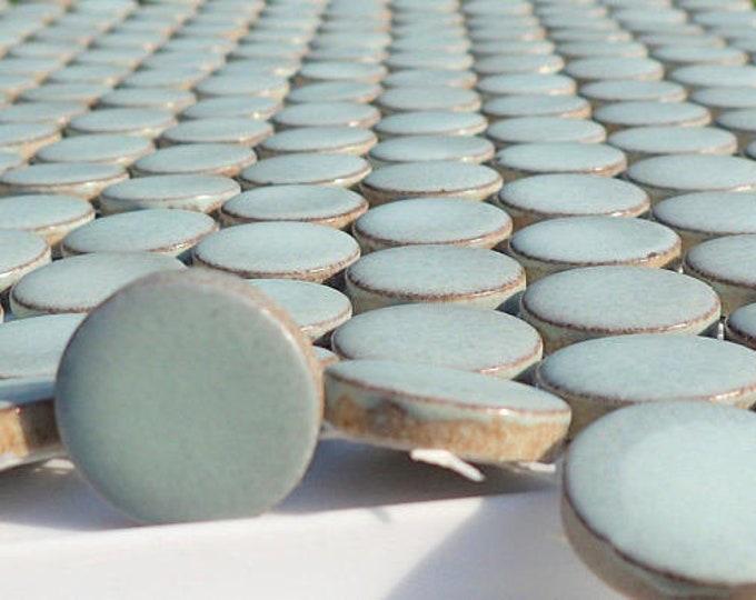 Aquamarine Ceramic Tiles - Round Mosaic Tiles - 2 cm or .75 inch - 25 Tiles - Penny Rounds