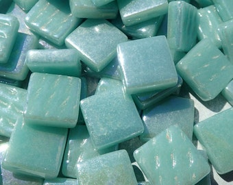 Light Teal Iridescent Glass Square Mosaic Tiles - 12mm - 50g of Squares