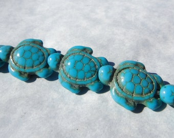 Turquoise Blue Sea Turtles Stone Beads - Half or Full Strand