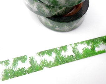 Pine Boughs Washi Tape - Nature Christmas Garland Holiday Paper Tape - Pine Needles- Camping Outdoors Trees  - 15mm x 10m