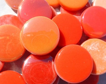 Orange Candy Mix Glass Drops Mosaic Tiles - 100 grams Vase Fillers Home Decor - 20mm Flat Marbles Mix of Gloss and Iridescent Glass Gems