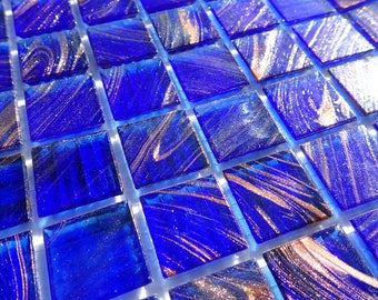 Bright Blue with Gold Vein Glass Mosaic Tiles Squares - 3/4 inch - 25 Tiles