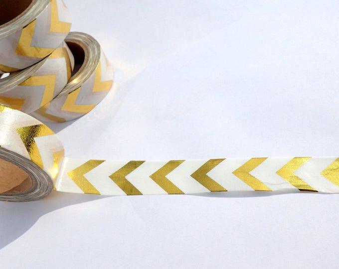Gold Chevron Foil Washi Tape - Paper Tape Great for Scrapbooking Paper Crafts and Mixed Media - Large Gold Arrows 15mm x 10m