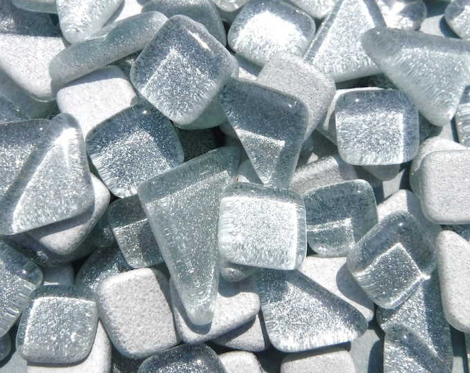 Silver Glitter Puzzle Tiles - 100 grams