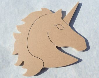 Unicorn Plaque -  Use as a Base for Mosaics Decoupage or Decorative Painting - Unfinished MDF Small 6 inch Sign DIY