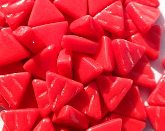 Small Red Triangle Glass Mosaic Tiles - 10mm- 50g