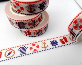 Nautical Washi Tape - Life Preserver Compass Anchors Ship Steering Wheel Flip Flops T-Shirts - Paper Tape - Boat Theme - 15mm x 10m