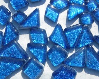 Blue Glitter Puzzle Tiles - 100 grams in Medium Blue