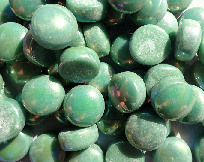 Leaf Green Iridescent Glass Drops - 100 grams - 12mm