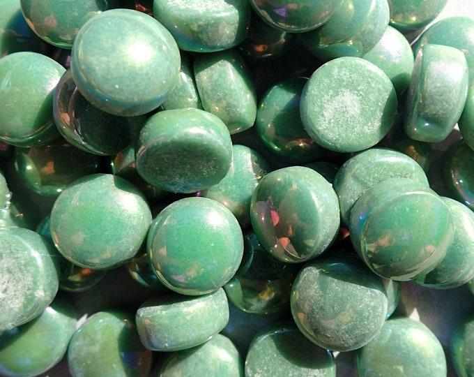 Leaf Green Iridescent Glass Drops Mosaic Tiles - 100 grams Glass Gems