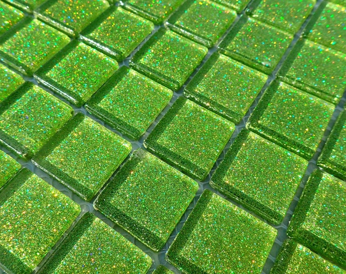 Lime Green Glitter Tiles - 1 inch - 25 Squares