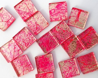 Bubblegum Pink Foil Square Tiles - 25 Glass Mosaic Tiles - 20mm - Dark Pink and Gold