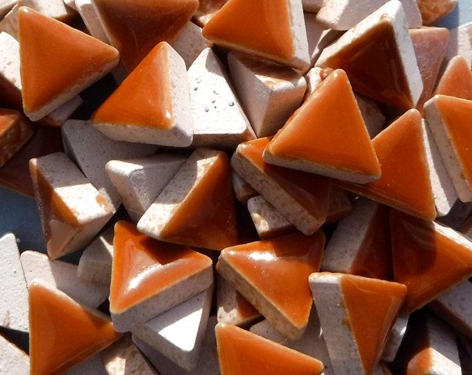 Brown Mini Triangles Mosaic Tiles - 50g Ceramic - 15mm in Dark Caramel