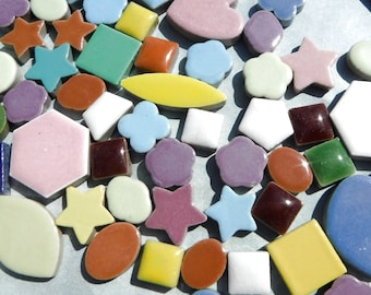 Mosaic Ceramic Tiles - Assorted Mix of Hearts Stars Circles Flowers and Squares - 1 pound