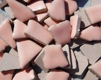 Pale Pink Mosaic Ceramic Tiles - Jigsaw Puzzle Shaped Pieces - Half Pound