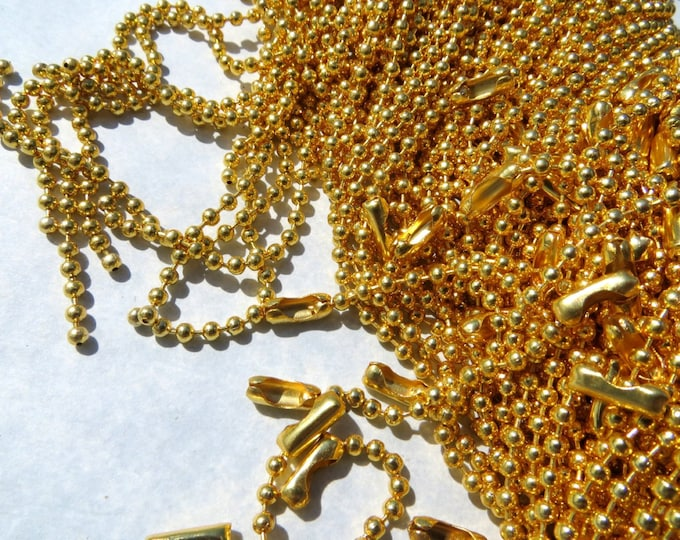 Gold Ball Chain Necklaces - 24 inch - 2.4mm Diameter - Set of 25 - Gold Toned