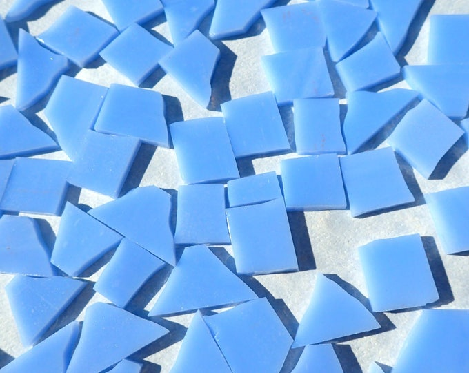 Stained Glass Mosaic Tiles in Summer Sky Blue - 1/2 Pound - 5-15 mm Various Shapes