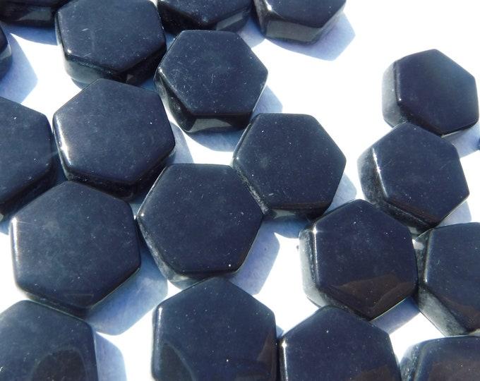 Black Hexagon Mosaic Tiles - 15mm - 100g Opaque Glass Tiles