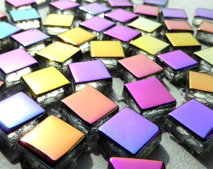 Metallic Glass Tiles - Crystal Electroplated Mosaic Tiles - Half Inch Mixed Bright Colors - 25 tiles