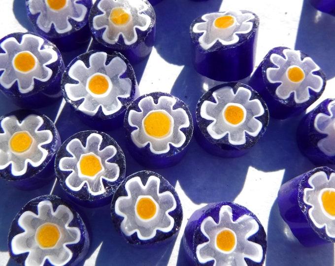 White Daisy in Bright Blue Millefiori - 25 grams - Unique Mosaic Glass Tiles -  Floral Pattern