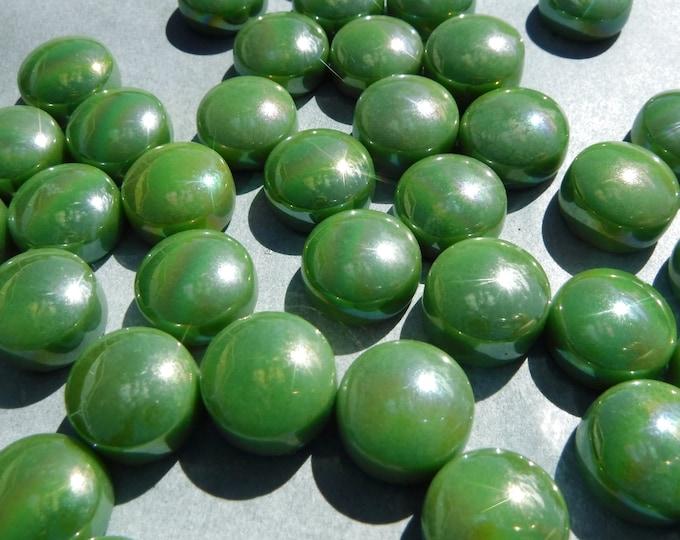 Grass Green Iridescent Glass Gems - 100 grams - 12mm