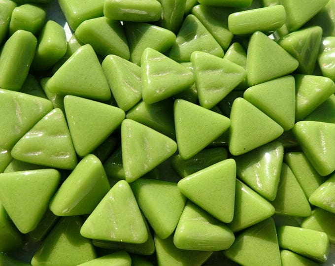 Green Small Triangle Glass Mosaic Tiles - 10mm - Opaque Glass Solid Color - 50g of Triangles in Grass Green