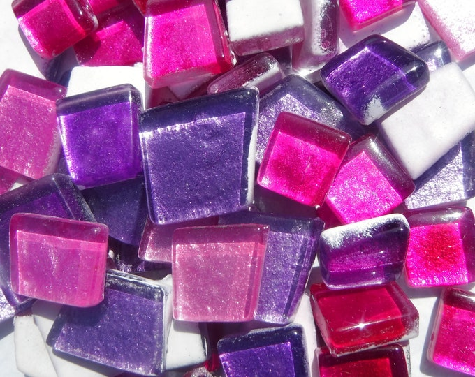 Bright Pinks and Purples Glass Metallic Foil Tiles - Assorted Shapes - 50 grams