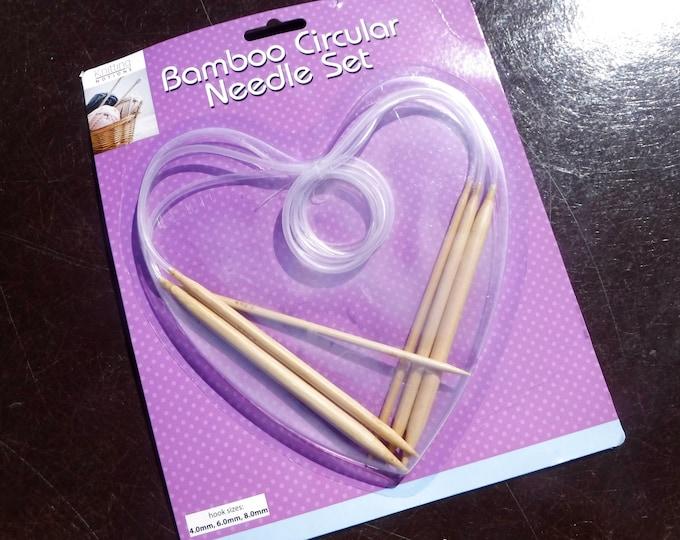 Bamboo Circular Knitting Needles Set - Knitting Notions - Set of 3 Different Sized Needles