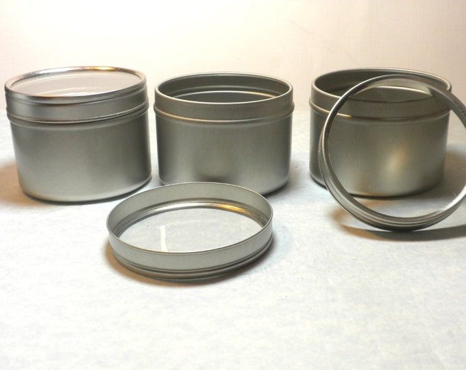 Round Tin with Clear Lid - 4 ounces Circle Food Grade and Seamless - Use for your Pendants Magnets and other Gifts Favors and Goodies - 10