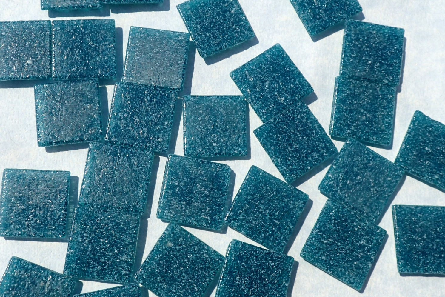 Dark Teal Glass Mosaic Tiles Squares - 3/4 - Half Pound of Deep ...