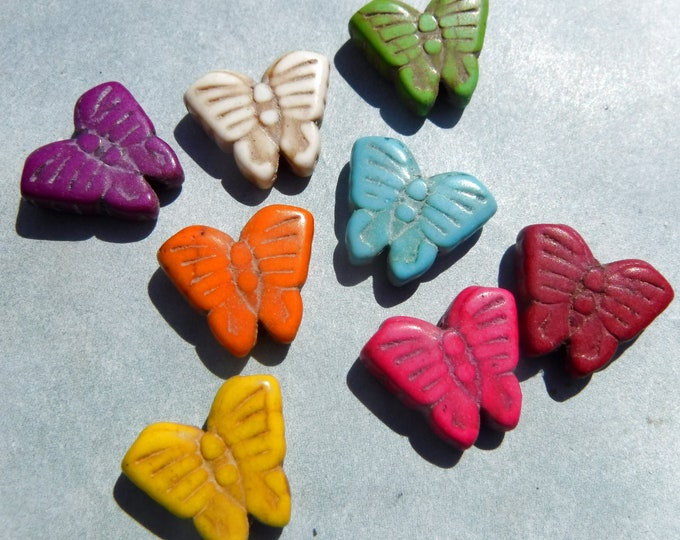 Colorful Butterfly Beads - 12mmx 15mm - Dyed Stone Beads