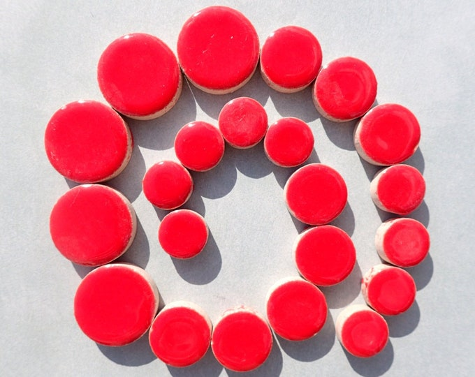 """Red Circles Mosaic Tiles - 50g Ceramic in Mix of 3 Sizes 1/2"""" and 3/4"""" and 5/8"""""""