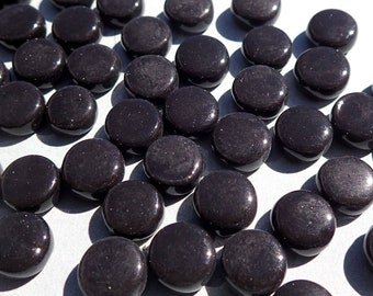 Black MINI Glass Drops Mosaic Tiles - 50 grams - Flat Back Glass Gems