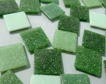 Green Mix Glass Vitreous Tiles - 20mm - Half Pound of Squares