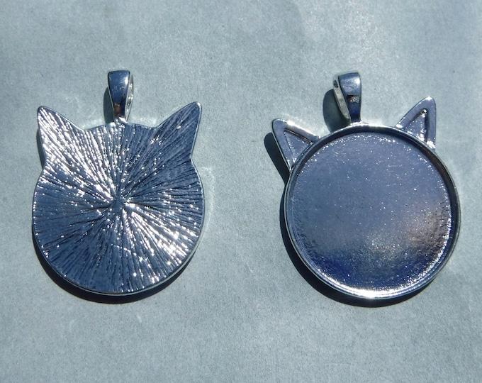Silver Cat Head Pendant Cabochon Base - 1 inch