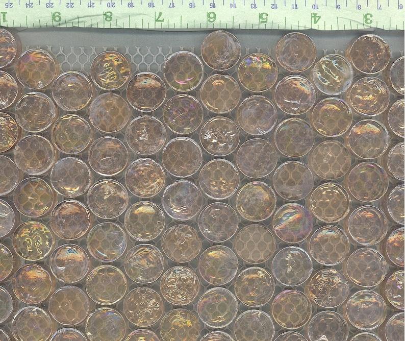 34 Light Orange 25 Penny Rounds Pale Peach Iridescent Circle Glass Mosaic Tiles