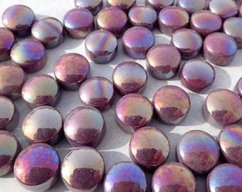 Deep Purple Iridescent Glass Drops Mosaic Tiles - 100 grams