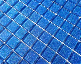 Blue Glitter Tiles - 1 inch Mosaic Tiles - 25 Metallic Glass Tiles - Medium Blue