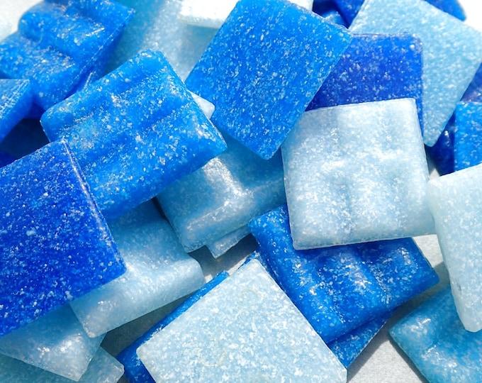 Blue Mix Glass Mosaic Tiles Squares - 20mm - Half Pound