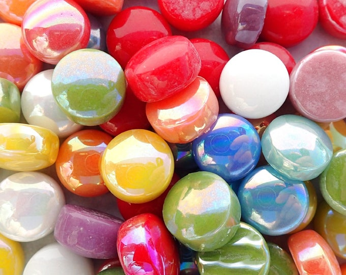 Bright Colors Mix Glass Drops Mosaic Tiles - 100 grams Vase Fillers - Flat Marbles Mix of Gloss and Iridescent Glass Gems