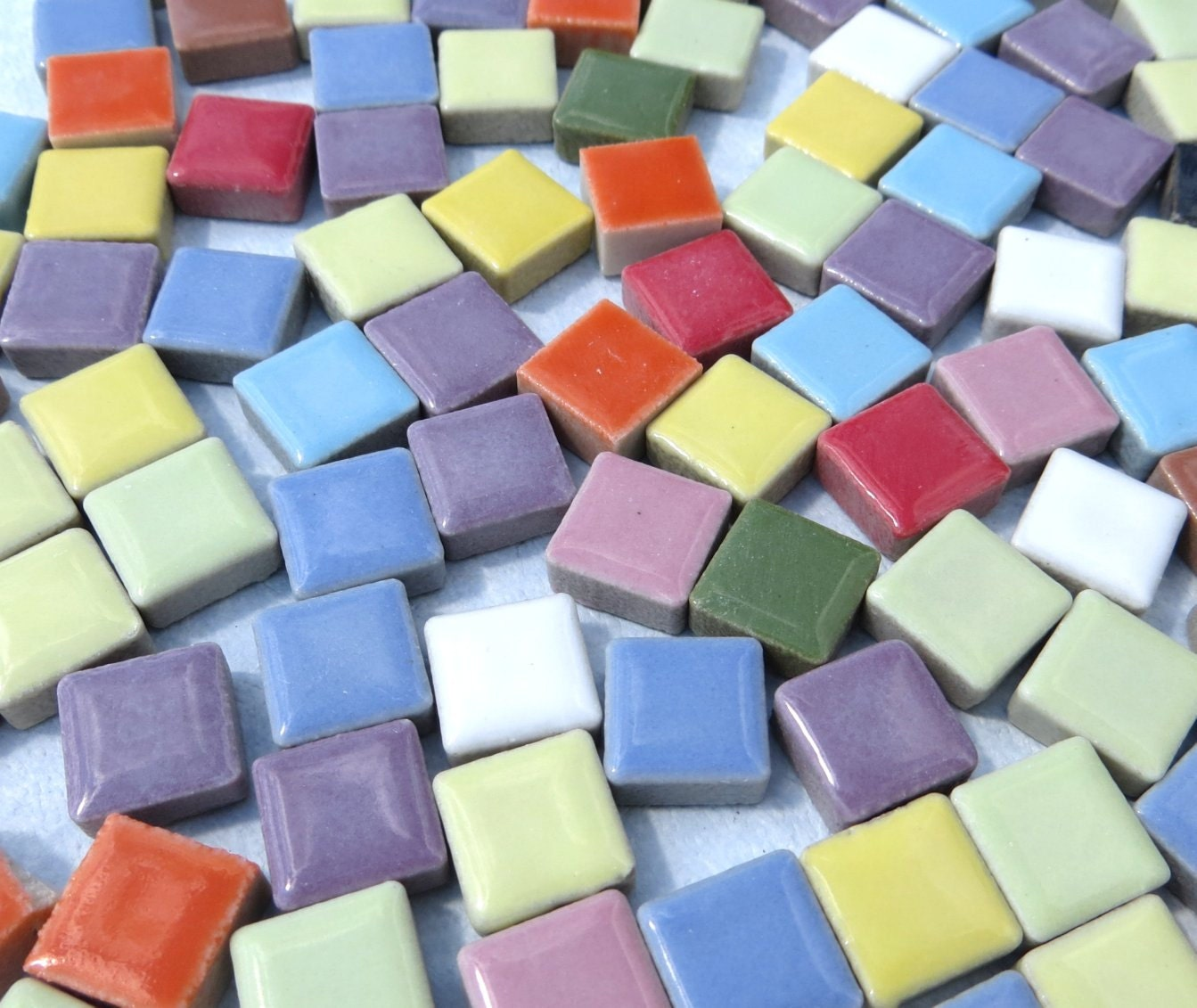 Tiny Square Mosaic Tiles In Assorted Colors 38 Inch Ceramic 1 Pound