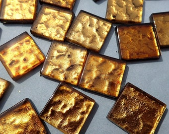 Dark Gold Foil Square Tiles - 25 Glass Mosaic Tiles - 20mm