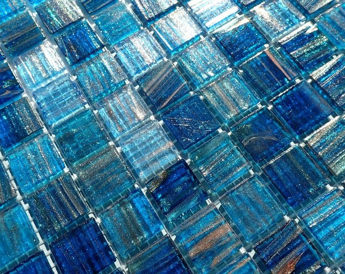 Water Blue with Gold Vein Glass Mosaic Tiles Squares - 3/4 inch - 25 Tiles