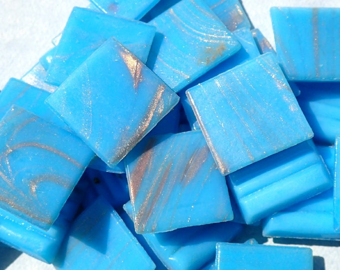 Sky Blue with Gold Vein Glass Mosaic Tiles Squares - 3/4 inch - 25 Tiles