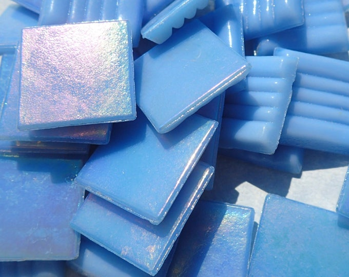 Sky Blue Iridescent Glass Mosaic Tiles Squares - 3/4 inch - 25 Tiles for Craft Projects and Decorations - Light Blue Venetian