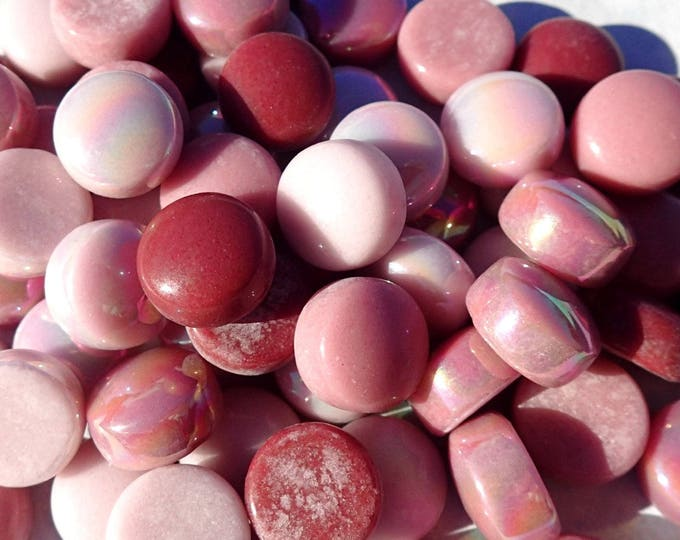 Pink Mix Glass Drops Mosaic Tiles - 100 grams Vase Fillers - Flat Marbles Mix of Gloss and Iridescent Glass Gems