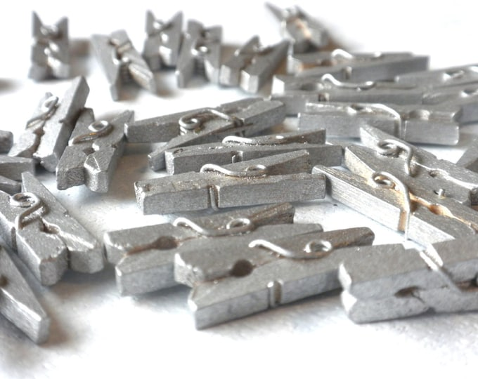 "Mini Clothespins in Silver - 100 - 1"" or 2.5 cm - Wooden - Great for Wedding Favors and Decorations"