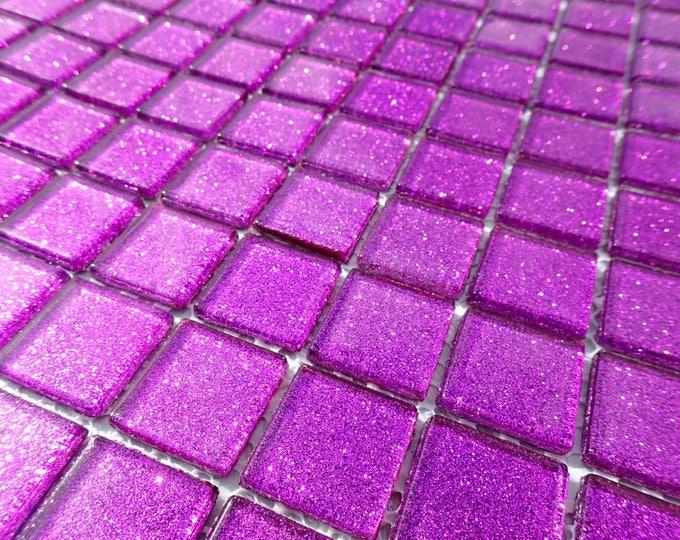 Purple Glitter Tiles - 1 inch Mosaic Tiles - 25 Metallic Glass Tiles - Bright Violet