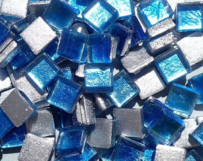 Blue Foil Square Crystal Tiles - 10mm - 50g Metallic Glass Tiles