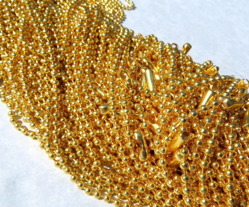 Gold Ball Chain Necklaces  24 inch  2.4mm Diameter  Set of image 0